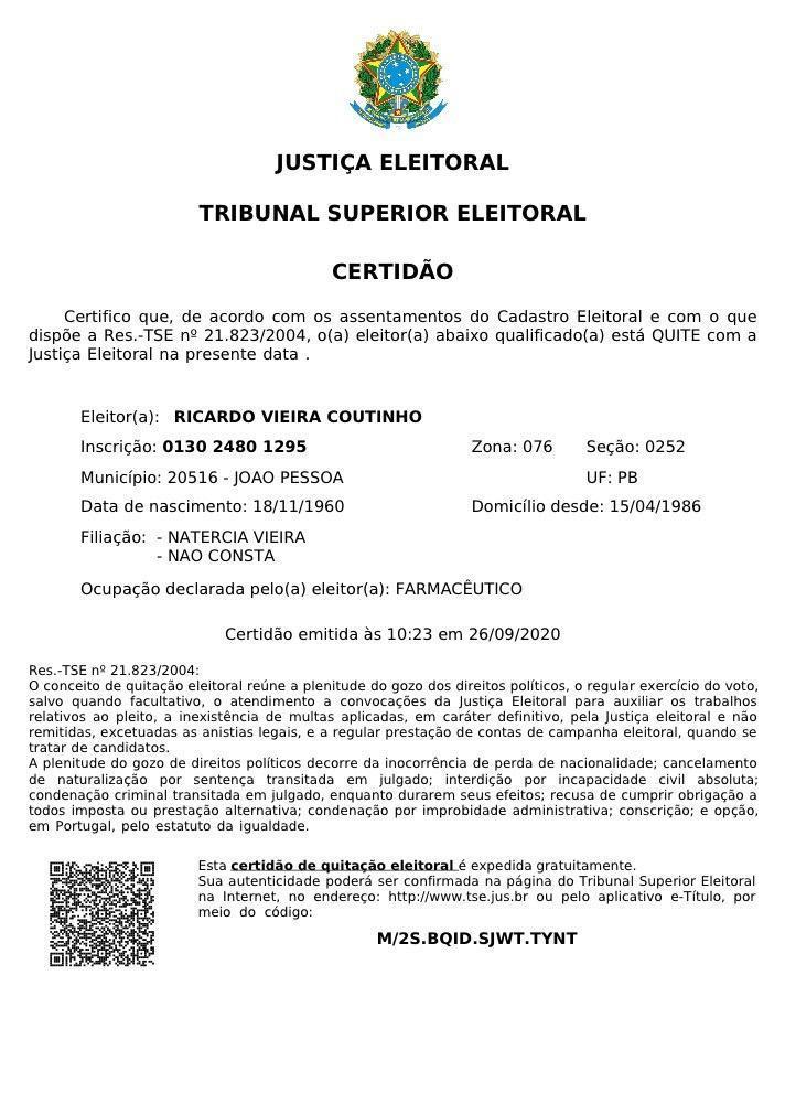 certidao-quitacao-eleitoral-ricardo-coutinho TSE emite certidão de quitação eleitoral de Ricardo Coutinho